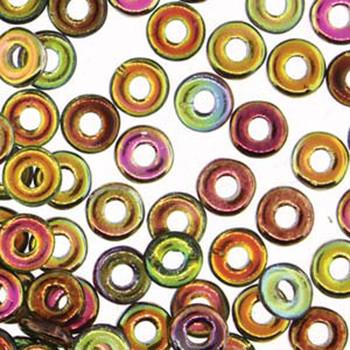 Magic Green O-Beads 3.8x1mm Czech Glass Mini Flat Ring 8 Gram Ob2400030-95400-Tb