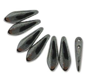 Hemitite 50 Czech Glass Dagger Drop Beads 5x16mm 2 Hole Dgr2-516-L23980