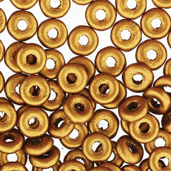 Brass Gold O-Beads 3.8x1mm Czech Glass Mini Flat Ring 8 Gram Ob2401740-Tb