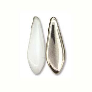 White Crome 25 Czech Glass Dagger Drop Beads 5x16mm Dgr51602020-27401
