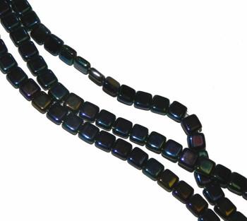 Iris Blue Czechmate 6mm Square Glass Czech Two Hole 25 Tile Beads Cztwn06-21435