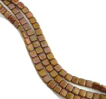 Luster Opaque Rose-Gold 6mm Square Glass Czech Two Hole 25 Tile Beads Cztwn06-P65491