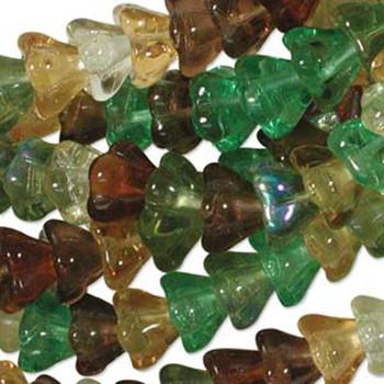 Earth Tones Mix 10x13mm Flower Cone 45 Bead Cap Czech Glass Beads Flw1113Mix07