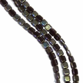 Tanzanite Celsian 6mm Square Glass Czech Two Hole 25 Tile Beads Cztwn06-Z2051
