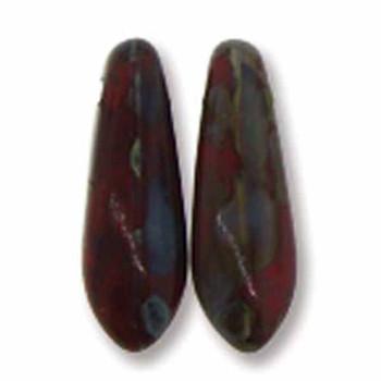 Opaque Red Picasso 50 Czech Glass Dagger Drop Beads 3x11mm Dgr31193200-P
