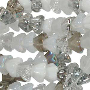 Apparition Mix 10x13mm Flower Cone 45 Bead Cap Czech Glass Beads Flw1113Mix12