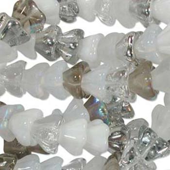 Apparition Mix 10x13mm Flower Cone 45 Bead Cap Czech Glass Beads Flw1113Mix12