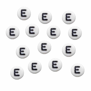 """100 White Acrylic Alphabet Letter """"E"""" Coin Spacer Beads 7x4mm Round Rb-B08354-E"""