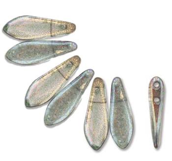 Pink Crystal Luster 50 Czech Glass Dagger Drop Beads 5x16mm 2 Hole Dgr2-516-90001Cr