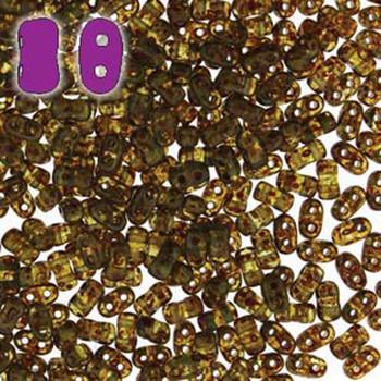Aqua Travertine Dark Bi-Bo Czech Glass 2 Hole Seed Beads 5.5x2.8mm 22Gr Bo52-60020-86805-Tb