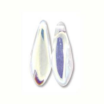 Crystal Ab 25 Czech Glass Dagger Drop Beads 5x16mm Dgr51600030-Ab