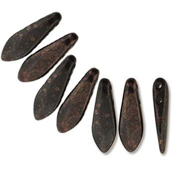 Jet Marbled Dark Bronze 50 Czech Glass Dagger Drop Beads 5x16mm 2 Hole Dgr2-516-Fi23980