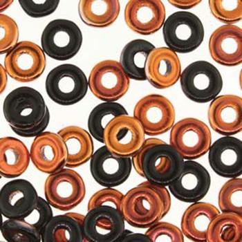 Jet Sunset O-Beads 3.8x1mm Czech Glass Mini Flat Ring 8 Gram Ob2423980-27137-Tb