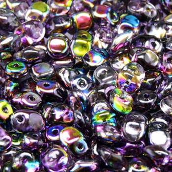Crystal Magic Violet Grey 2.5x5mm 1 One Hole Fringe Czech Glass Seed Beads 20 Grams Un0500030-95500-Tb