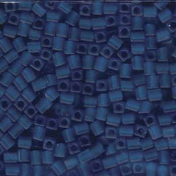 20 Grams Transparent Cobalt Frosted Miyuki 4mm Square Cube Glass Seed Beads Sb4-149F-Tb
