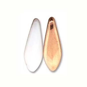 White Capri Gold 25 Czech Glass Dagger Drop Beads 5x16mm