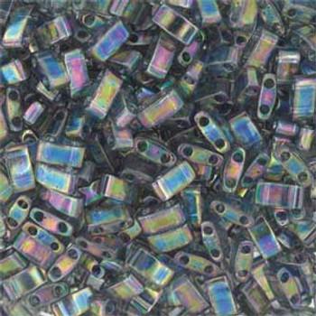 Grey Rainbow Luster Half Tila Beads 7.2 Gram Miuki Square 5mm 2 Hole Tlh2440D-Tb