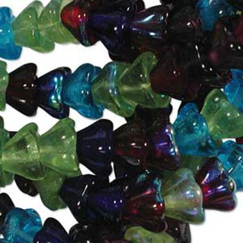 Gemstone Mix 10x13mm Flower Cone 45 Bead Cap Czech Glass Beads Flw1113Mix14