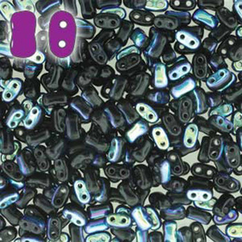 Jet Ab Bi-Bo Czech Glass 2 Hole Seed Beads 5.5x2.8mm 22Gr Bo52-23980-28701-Tb