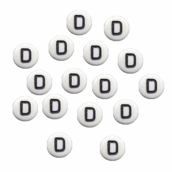 """100 White Acrylic Alphabet Letter """"D"""" Coin Spacer Beads 7x4mm Round Rb-B08354-D"""