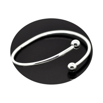 4 Pcs Silver Plated Bangle Bracelets Fit European Beads Equal 8 1/2 Inch Rb15338
