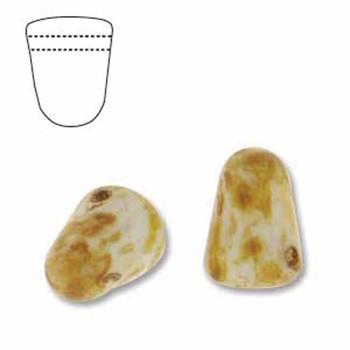White Picasso 20 Czech Glass Gumdrop Beads 7 5x10mm Gum710-02010-86800