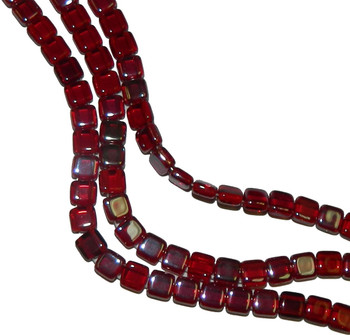 Siam Ruby Celsian 6mm Square Glass Czech Two Hole Tile Bead 25 Beads
