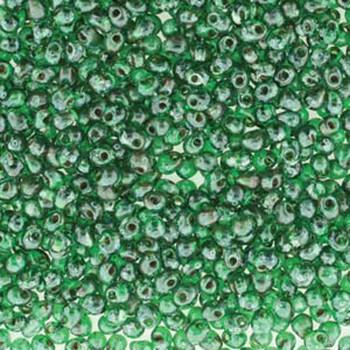 Dark Green Picasso Miyuki 3.4mm Fringe Seed Bead Glass Tear Drops 20 Gram Tube 400-450 Beads Dp-94507-Tb