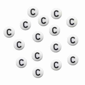 "100 White Acrylic Alphabet Letter ""C"" Coin Spacer Beads 7x4mm Round Rb-B08354-C"