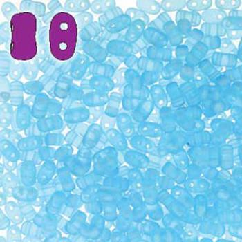 Aqua Matte Bi-Bo Czech Glass 2 Hole Seed Beads 5.5x2.8mm 22Gr Bo52-60020-84110-Tb