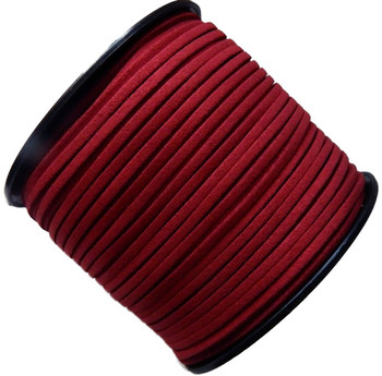 Red Micro Fiber Faux Suede 3mm 90 Yard Spool Flat Lace Beading Craft Cord Rb-01153209-15-Spool