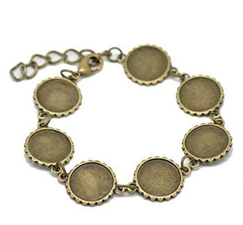 """2 Antiqed Brass Round Fits 16mm Cabochons Setting Disk Bracelets 8"""" Rb20078"""