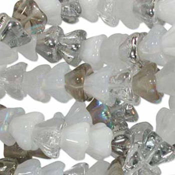 Apparition Mix 6x8mm Flower Cone 45 Bead Cap Czech Glass Beads Flw68Mix12