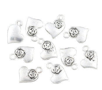 48 Charm Pendants Heart Antique Silver Beads 15x11mm Rb08708