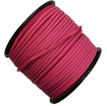Pink Micro Fiber Faux Suede 3mm 90 Yard Spool Flat Lace Beading Craft Cord Rb-01153209-10-Spool
