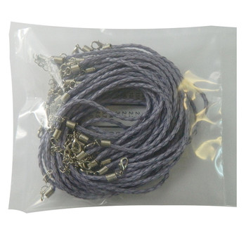 """20 Imitation Leather Cord Braded Necklaces Purple 17"""" Lobster Clasp Rb00721-Purple"""