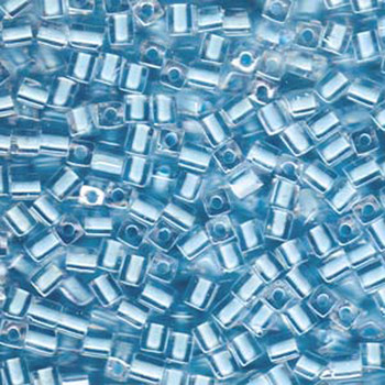 20 Grams Clear Ice Blue Lined Miyuki 4mm Square Cube Glass Seed Beads Sb4-220-Tb