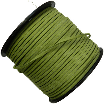 Green Micro Fiber Faux Suede 3mm 90 Yard Spool Flat Lace Beading Craft Cord Rb-01153209-16-Spool