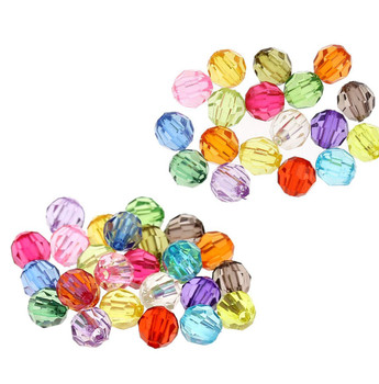 480 Mixed Acrylic Trasparent Plastic Round Faceted Spacer Beads 6mm Craft Grade Rb21782