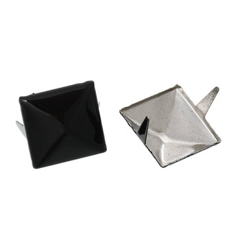 250 Spike Rivets Studs Square Silver Tone Painted Black 12mm 1/2 Inch Rb44013