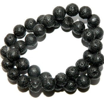"10mm Volcanic Lava Rock Natural Round Beads 40Cm 15"" Stone B2-10D50"