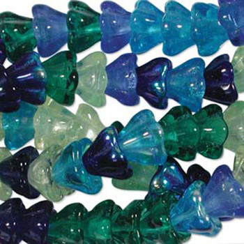 Lagoon Mix 10x13mm Flower Cone 45 Bead Cap Czech Glass Beads Flw1113Mix06