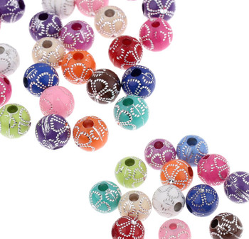 180 Acrylic Spacer Beads Round Random Mix Flower Pattern 10mm Round Hole 2.8mm Rb23568