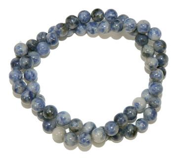 """6mm Denim Lapis Natural Round Beads 40Cm 15"""" Stone B1-6B27"""