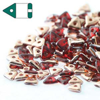Red Capri Gold Czech Glass Seed Tri Beads 4.6mmx1.3mm Thick Approx 9Gr Tube Tri2490090-27101-Tb