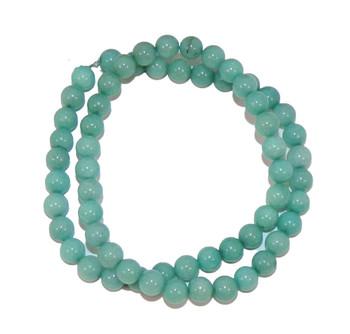 "6mm Amazonite Dyed Round Beads 40Cm 15"" Stone B1-6D51"
