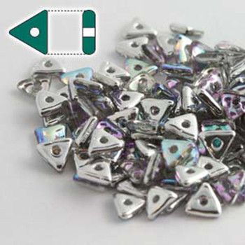 Crystal Silver Rainbow Czech Glass Seed Tri Beads 4.6mmx1.3mm Thick Approx 9Gr Tube Tri2400030-98530-Tb