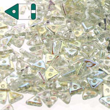 Crystal Green Rainbow Czech Glass Seed Tri Beads 4.6mmx1.3mm Thick Approx 9Gr Tube Tri2400030-98539-Tb