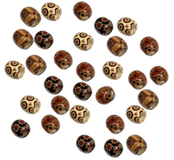 90 Wood Large Hole Macrame Beads 16mm Mixed Colors Painted Rb07158