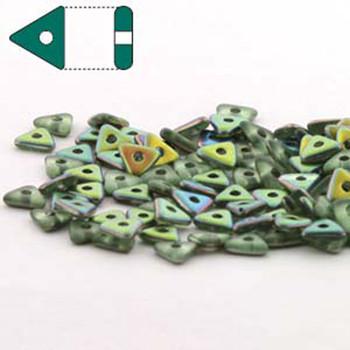Peridot Vitrail Matte Czech Glass Seed Tri Beads 4.6mmx1.3mm Thick Approx 9Gr Tube Tri2450510-28171-Tb